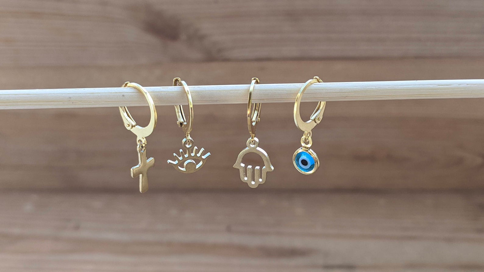 Single loop evil eye earrings