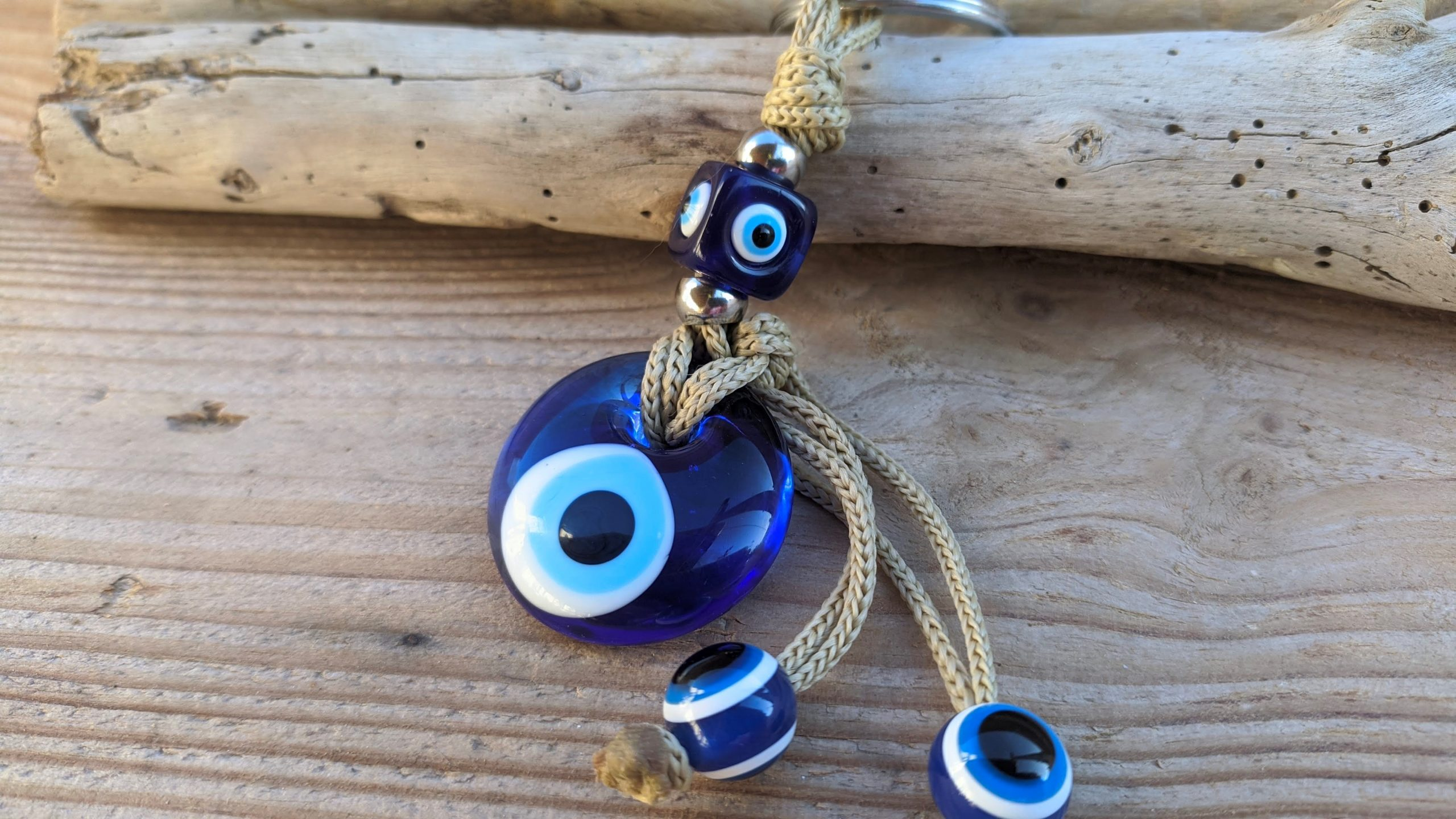 Glass evil eye keychain
