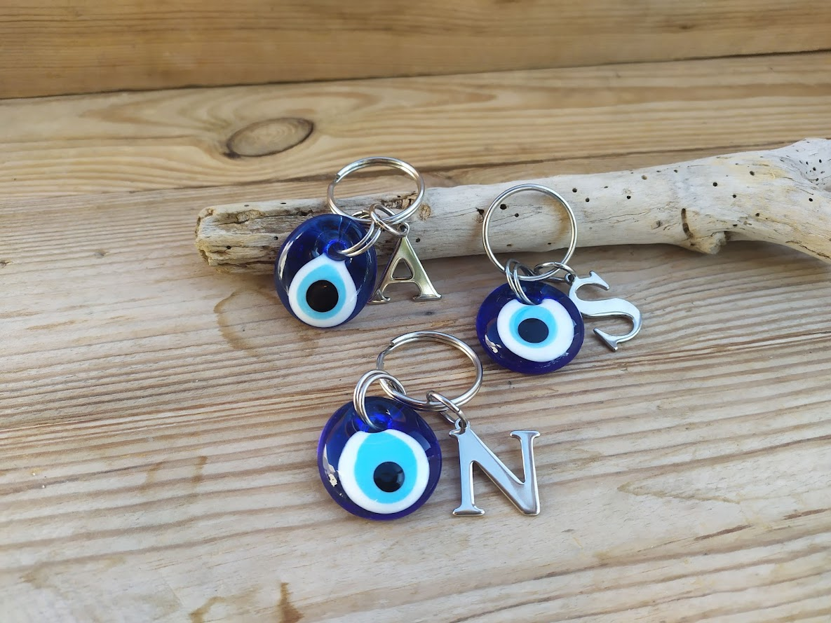 Evil eye initial keychain